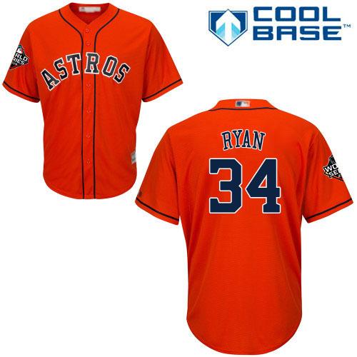 Astros #34 Nolan Ryan Orange New Cool Base 2019 World Series Bound Stitched MLB Jersey