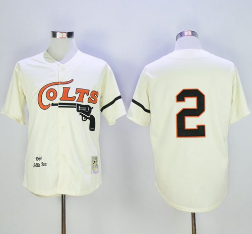 Mitchell and Ness Colt.45s #2 Fox Stitched Cream Throwback MLB Jersey