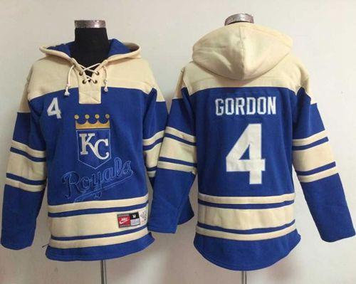 Royals #4 Alex Gordon Light Blue Sawyer Hooded Sweatshirt MLB Hoodie