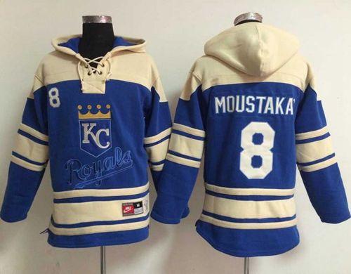 Royals #8 Mike Moustakas Light Blue Sawyer Hooded Sweatshirt MLB Hoodie
