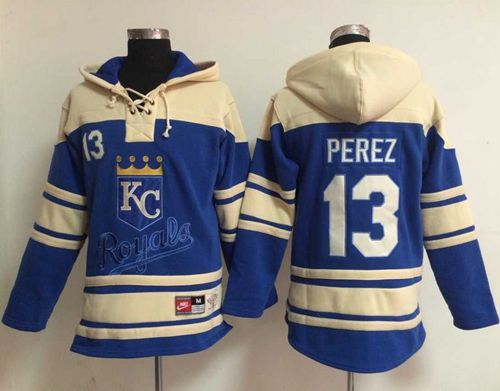Royals #13 Salvador Perez Light Blue Sawyer Hooded Sweatshirt MLB Hoodie