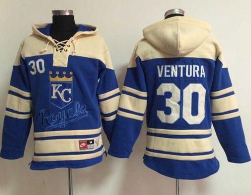 Royals #30 Yordano Ventura Light Blue Sawyer Hooded Sweatshirt MLB Hoodie