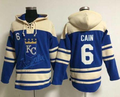 Royals #6 Lorenzo Cain Light Blue Sawyer Hooded Sweatshirt MLB Hoodie