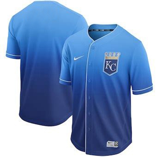 Nike Royals Blank Royal Fade Authentic Stitched MLB Jersey