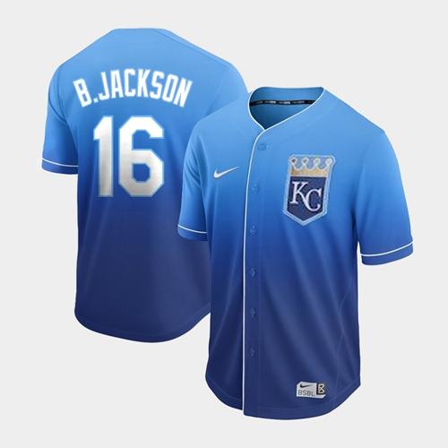 Nike Royals #16 Bo Jackson Royal Fade Authentic Stitched MLB Jersey