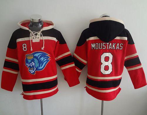 Royals #8 Mike Moustakas Red Sawyer Hooded Sweatshirt MLB Hoodie