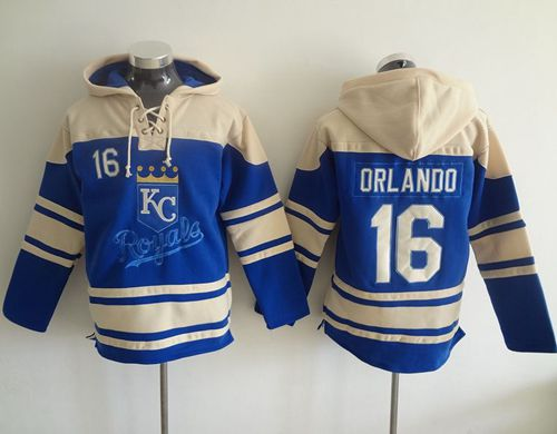 Royals #16 Paulo Orlando Light Blue Sawyer Hooded Sweatshirt MLB Hoodie