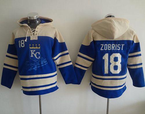 Royals #18 Ben Zobrist Light Blue Sawyer Hooded Sweatshirt MLB Hoodie
