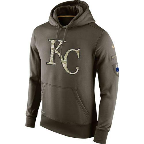 Men's Kansas City Royals Nike Olive Salute To Service KO Performance Hoodie