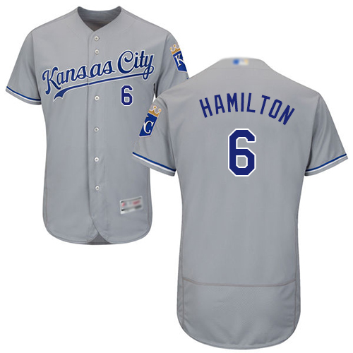 Royals #6 Billy Hamilton Grey Flexbase Authentic Collection Stitched MLB Jersey