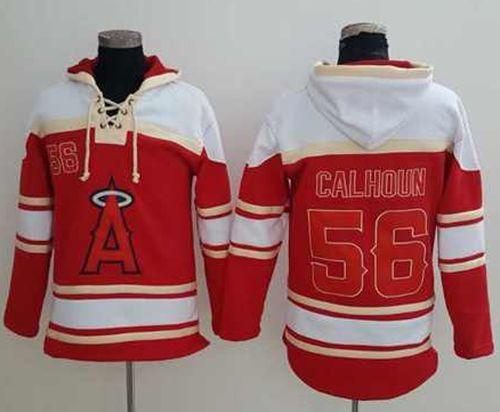 Angels of Anaheim #56 Kole Calhoun Red Sawyer Hooded Sweatshirt MLB Hoodie