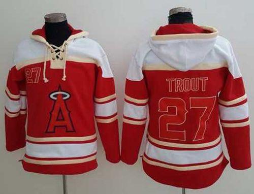 Angels of Anaheim #27 Mike Trout Red Sawyer Hooded Sweatshirt MLB Hoodie