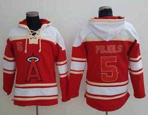 Angels of Anaheim #5 Albert Pujols Red Sawyer Hooded Sweatshirt MLB Hoodie