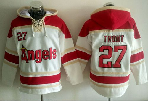 Angels of Anaheim #27 Mike Trout White Sawyer Hooded Sweatshirt MLB Hoodie
