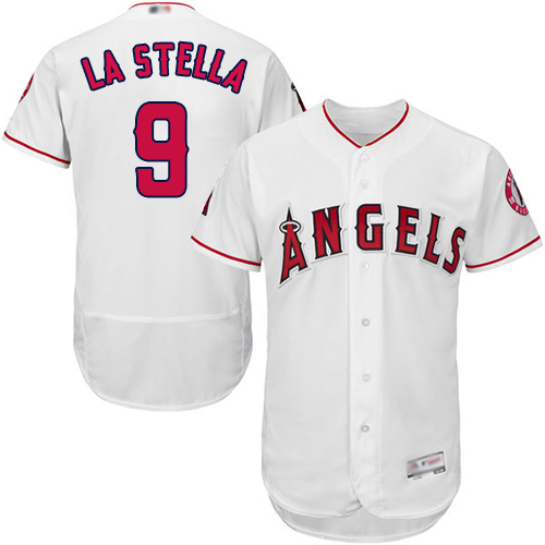 Angels of Anaheim #9 Tommy La Stella White Flexbase Authentic Collection Stitched MLB Jersey