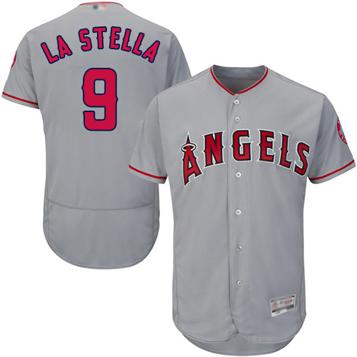 Angels of Anaheim #9 Tommy La Stella Grey Flexbase Authentic Collection Stitched MLB Jersey