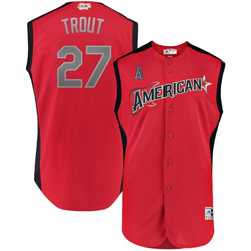Angels of Anaheim #27 Mike Trout Red 2019 All-Star American League Stitched MLB Jersey