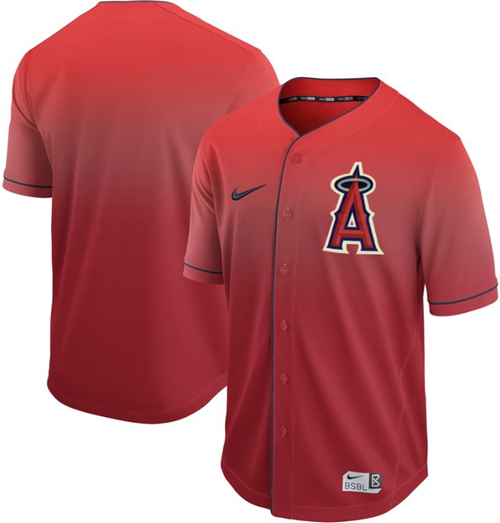 Nike Angels of Anaheim Blank Red Fade Authentic Stitched MLB Jersey
