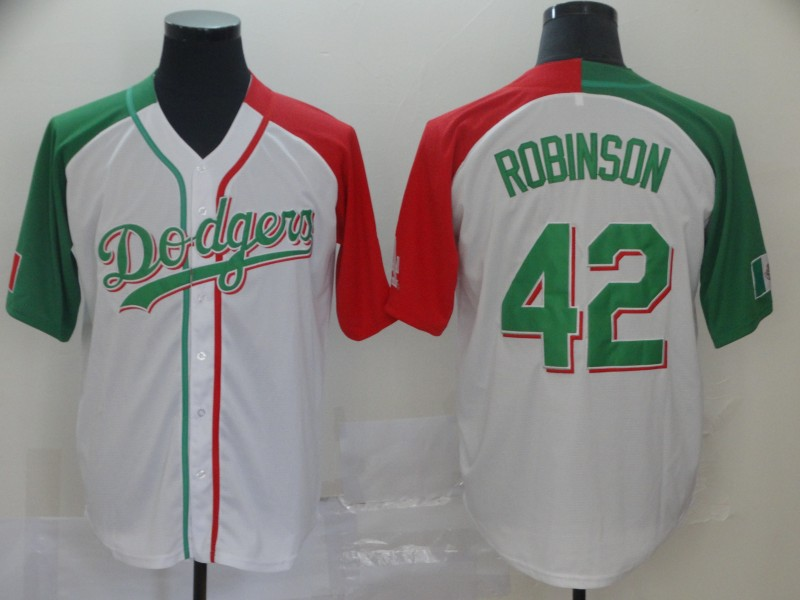 Dodgers #42 Jackie Robinson White Red/Green Split Cool Base Stitched MLB Jersey