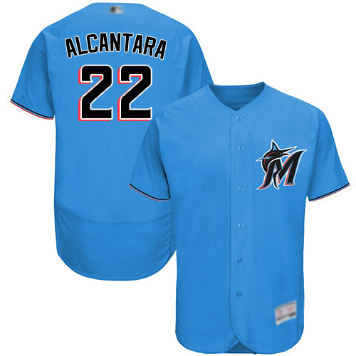 marlins #22 Sandy Alcantara Blue Flexbase Authentic Collection Stitched MLB Jersey