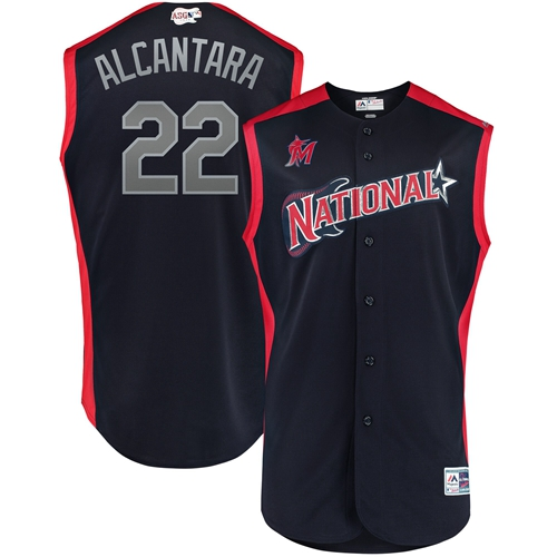 marlins #22 Sandy Alcantara Navy 2019 All-Star National League Stitched MLB Jersey