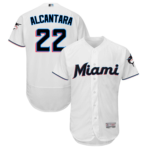 marlins #22 Sandy Alcantara White Flexbase Authentic Collection Stitched MLB Jersey