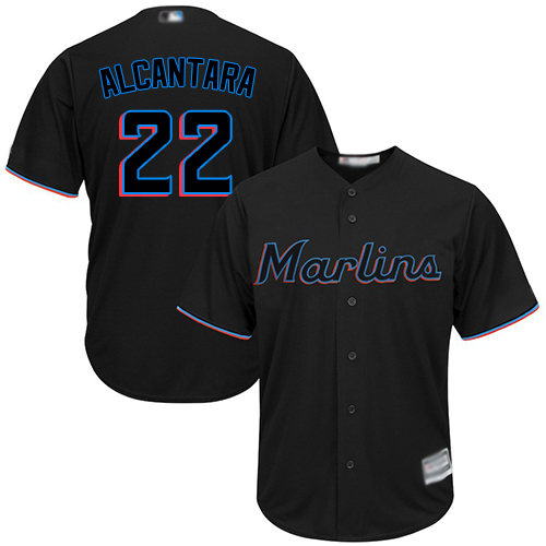 marlins #22 Sandy Alcantara Black New Cool Base Stitched MLB Jersey