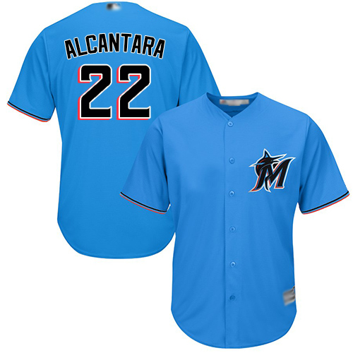 marlins #22 Sandy Alcantara Blue New Cool Base Stitched MLB Jersey