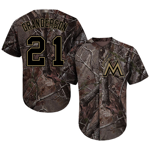 marlins #21 Curtis Granderson Camo Realtree Collection Cool Base Stitched MLB Jersey