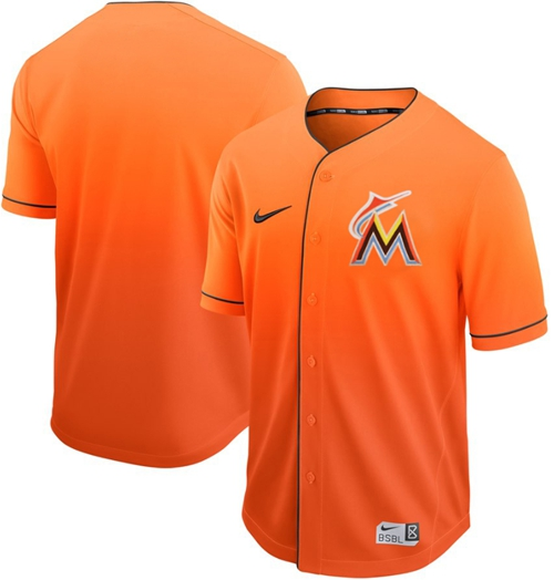 Nike marlins Blank Orange Fade Authentic Stitched MLB Jersey