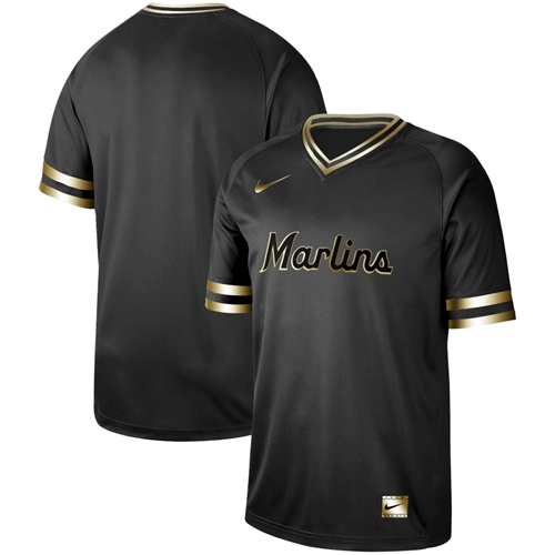 Nike marlins Blank Black Gold Authentic Stitched MLB Jersey