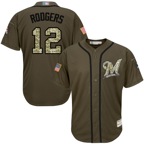 Brewers #12 Aaron Rodgers Green Salute to Service Stitched MLB Jersey