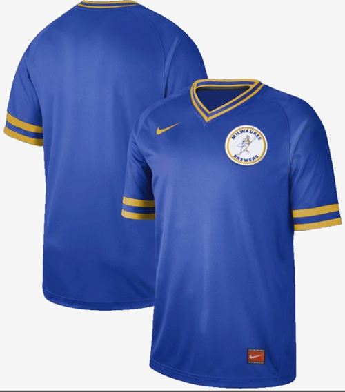 Nike Brewers Blank Royal Authentic Cooperstown Collection Stitched MLB Jersey