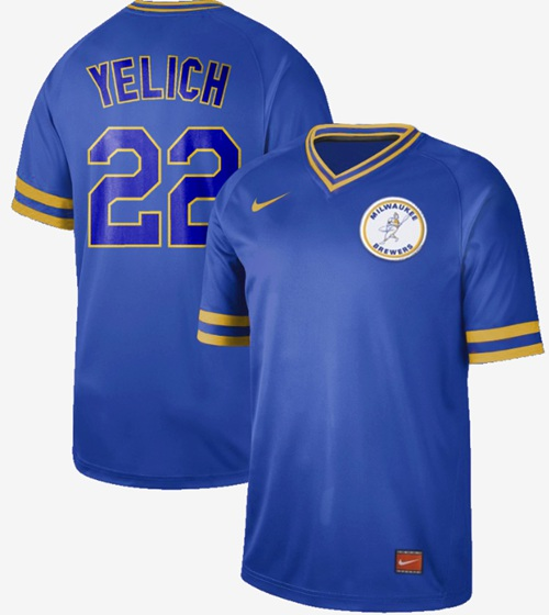 Nike Brewers #22 Christian Yelich Royal Authentic Cooperstown Collection Stitched MLB Jersey