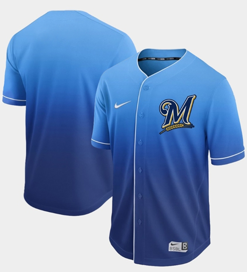 Nike Brewers Blank Royal Fade Authentic Stitched MLB Jersey