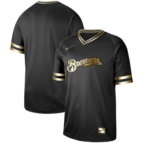 Nike Brewers Blank Black Gold Authentic Stitched MLB Jersey