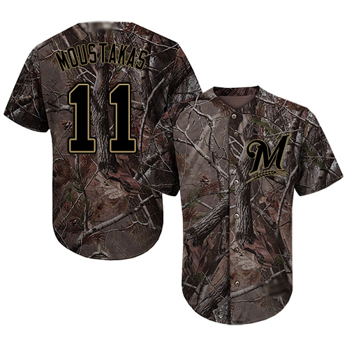 Brewers #11 Mike Moustakas Camo Realtree Collection Cool Base Stitched MLB Jersey