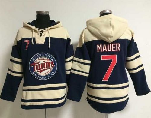 Twins #7 Joe Mauer Navy Blue Sawyer Hooded Sweatshirt MLB Hoodie