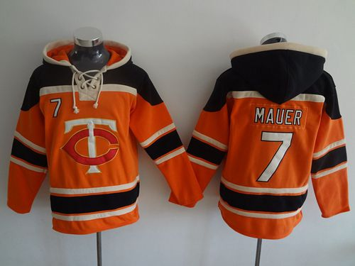 Twins #7 Joe Mauer Orange Sawyer Hooded Sweatshirt MLB Hoodie