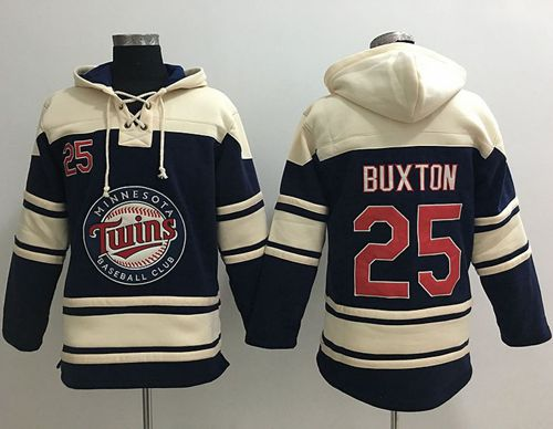 Twins #25 Byron Buxton Navy Blue Sawyer Hooded Sweatshirt MLB Hoodie