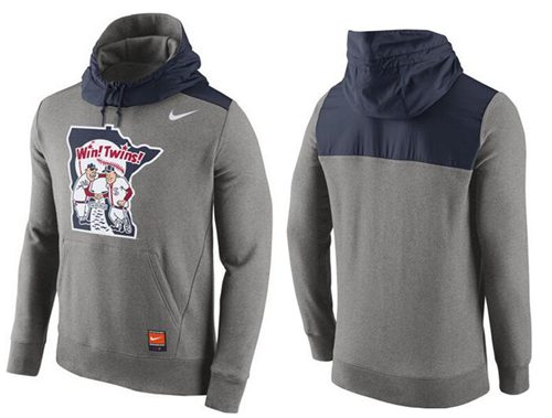 Men's Minnesota Twins Nike Gray Cooperstown Collection Hybrid Pullover Hoodie
