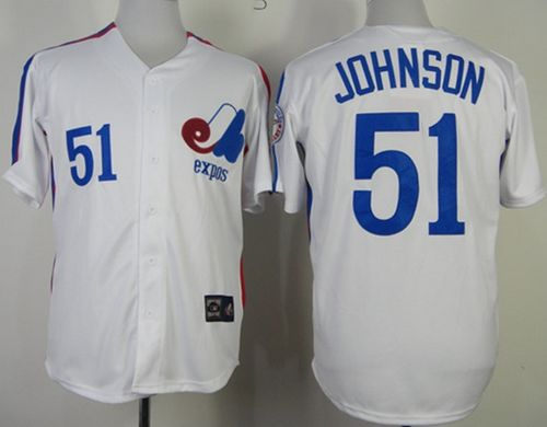 Mitchell And Ness Expos #51 Randy Johnson White Throwback Stitched MLB Jersey