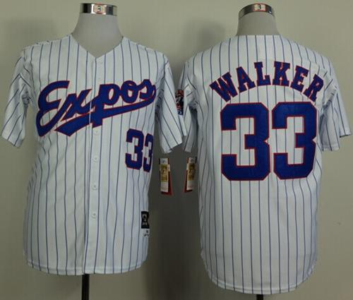 Mitchell And Ness 1982 Expos #33 Larry Walker White(Black Strip) Throwback Stitched MLB Jersey