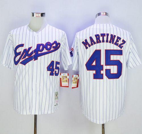 Mitchell And Ness 1982 Expos #45 Pedro Martinez White(Black Strip) Throwback Stitched MLB Jersey