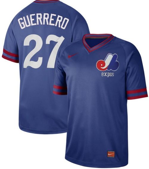 Nike Expos #27 Vladimir Guerrero Royal Authentic Cooperstown Collection Stitched MLB Jersey