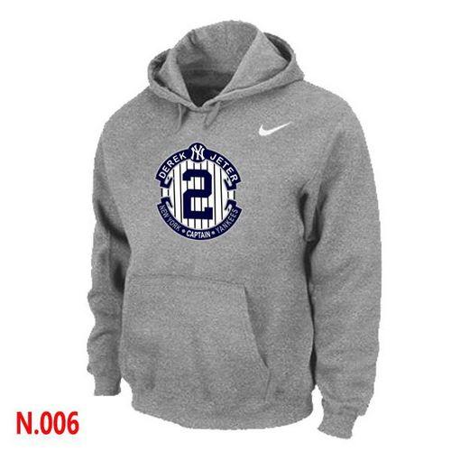 Nike New York Yankees #2 Derek Jeter Official Final Season Commemorative Logo Pullover Hoodie Light Grey