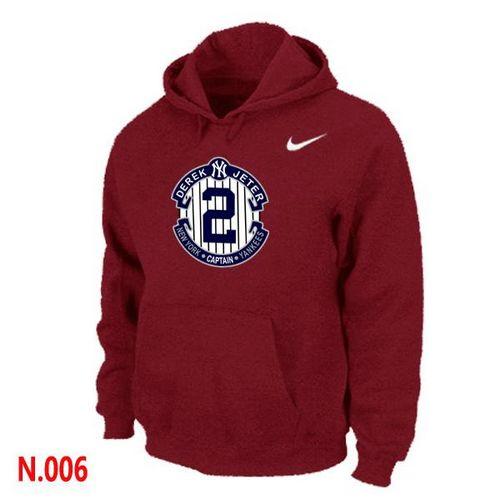 Nike New York Yankees #2 Derek Jeter Official Final Season Commemorative Logo Pullover Hoodie Red