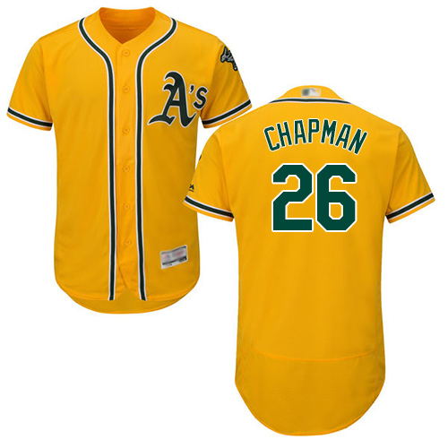 Athletics #26 Matt Chapman Gold Flexbase Authentic Collection Stitched MLB Jersey