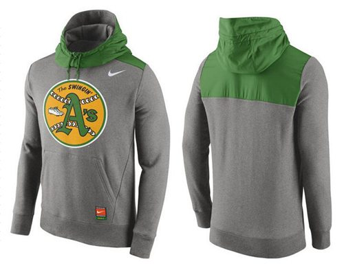 Men's Oakland Athletics Nike Gray Cooperstown Collection Hybrid Pullover Hoodie