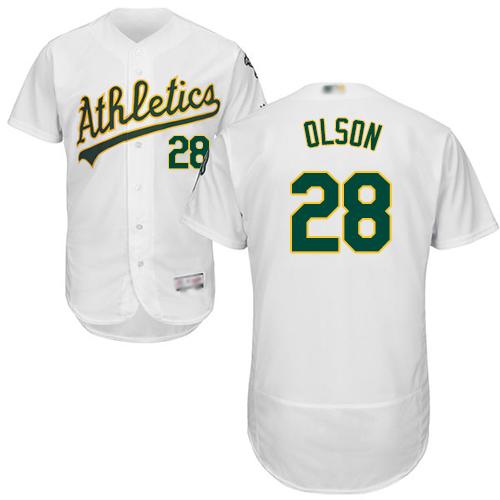 Athletics #28 Matt Olson White Flexbase Authentic Collection Stitched MLB Jersey